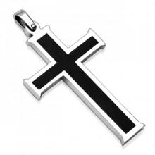 Pendentif homme en acier croix silver et noire